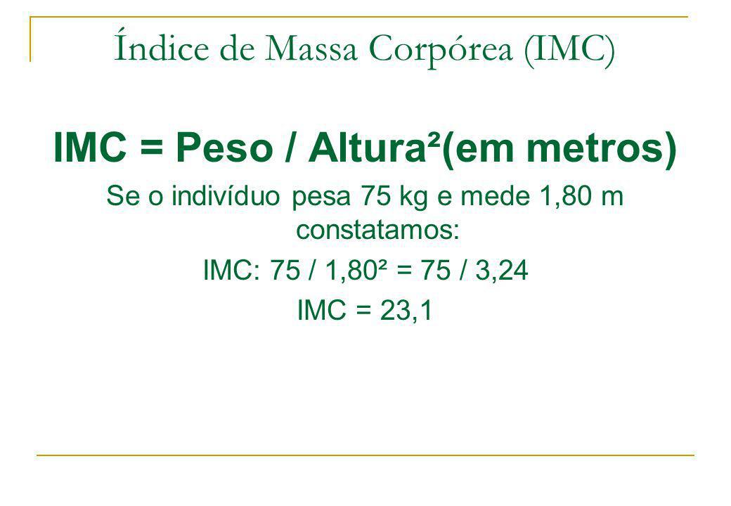 Índice de Massa Corpórea (IMC) IMC = Peso / Altura²(em metros) Se o indivíduo pesa 75 kg e mede 1,80 m constatamos: IMC: 75 / 1,80² = 75 / 3,24 IMC =