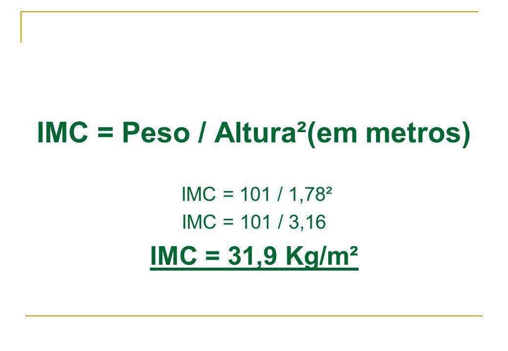 IMC = Peso / Altura²(em metros) IMC = 101 / 1,78² IMC = 101 / 3,16 IMC = 31,9 Kg/m²