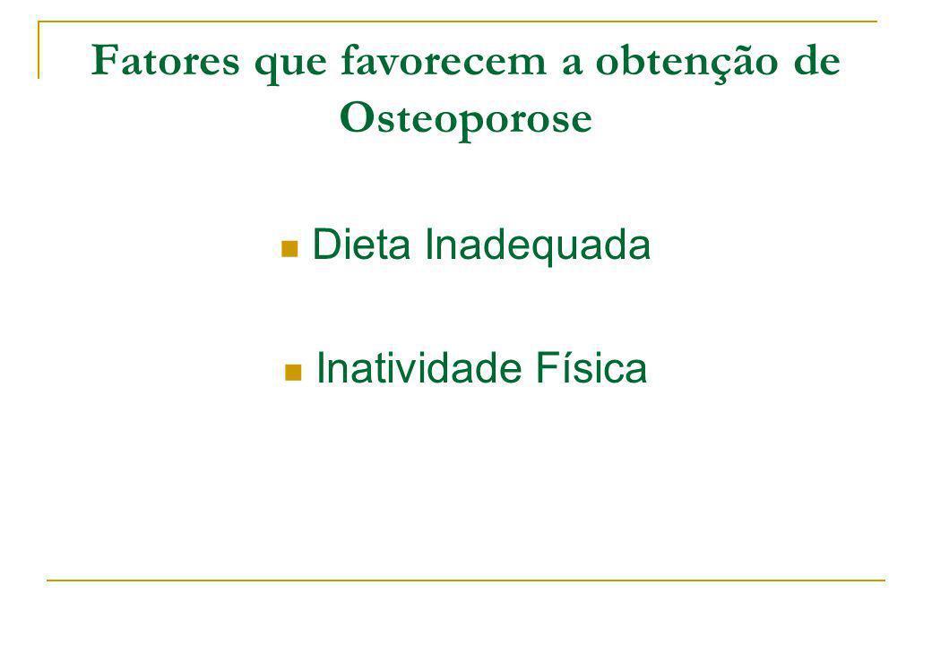 Fatores que favorecem a obtenção de Osteoporose Dieta Inadequada Inatividade Física