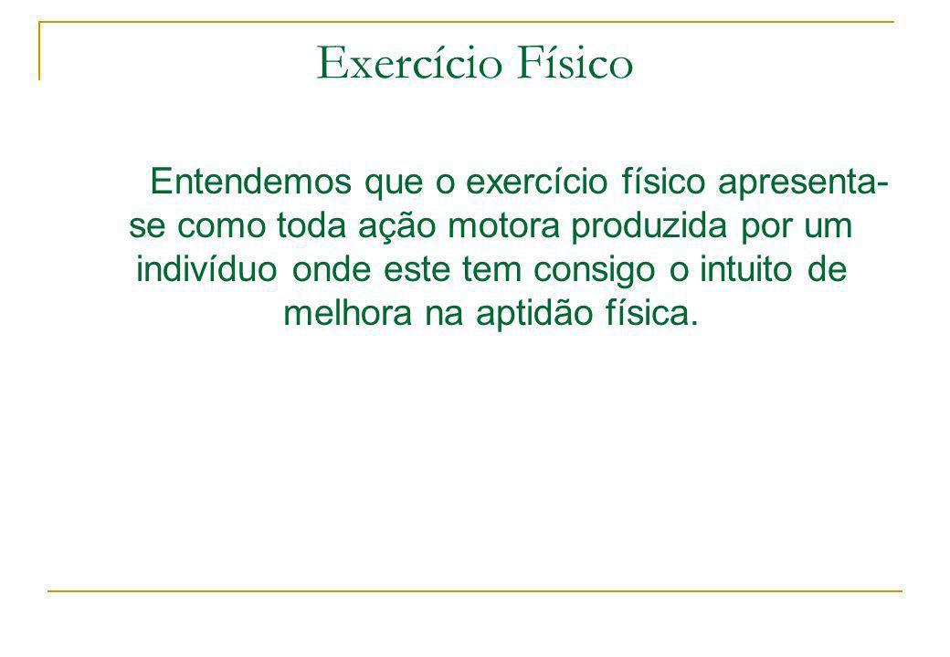 Exercício Físico Entendemos que o exercício físico apresenta- se como toda ação motora produzida por um indivíduo onde este tem consigo o intuito de m