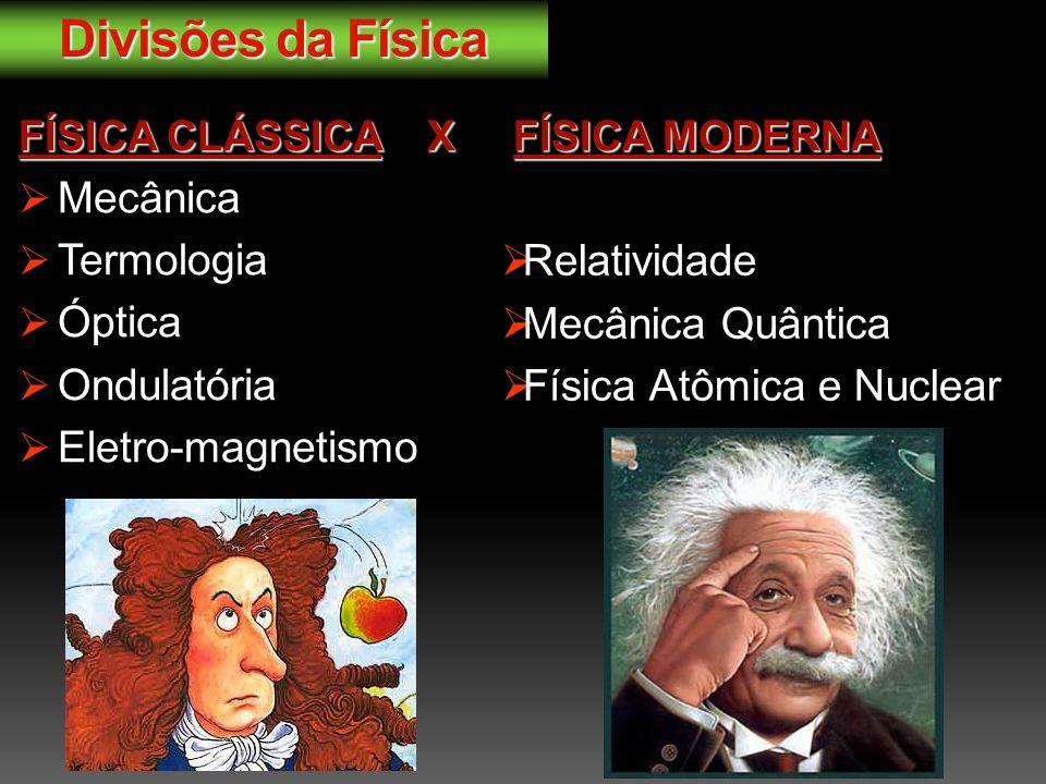 Divisões da Física FÍSICA CLÁSSICAX FÍSICA MODERNA FÍSICA CLÁSSICA X FÍSICA MODERNA Mecânica Termologia Óptica Ondulatória Eletro-magnetismo Relatividade Mecânica Quântica Física Atômica e Nuclear