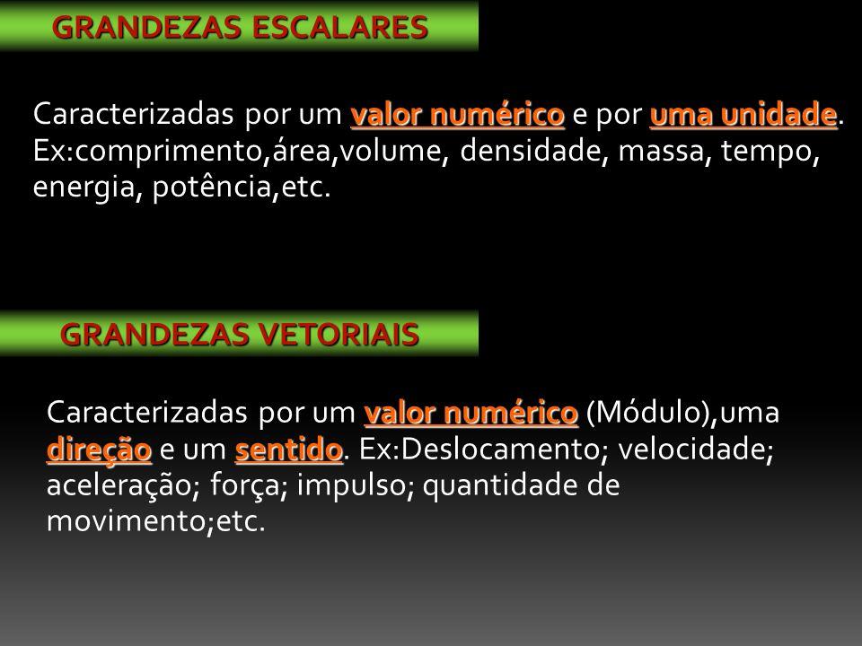 valor numérico direçãosentido Caracterizadas por um valor numérico (Módulo),uma direção e um sentido.
