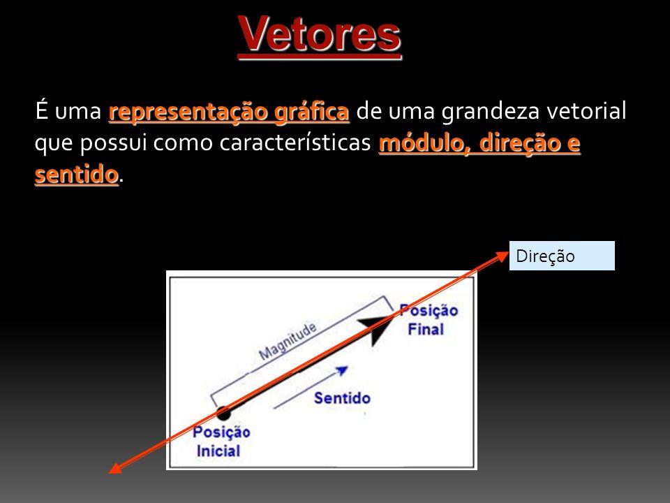 Vetores representação gráfica módulo, direção e sentido É uma representação gráfica de uma grandeza vetorial que possui como características módulo, direção e sentido.