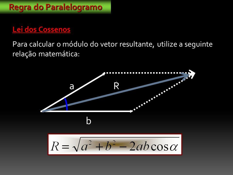 a b R Para calcular o módulo do vetor resultante, utilize a seguinte relação matemática: Regra do Paralelogramo Lei dos Cossenos