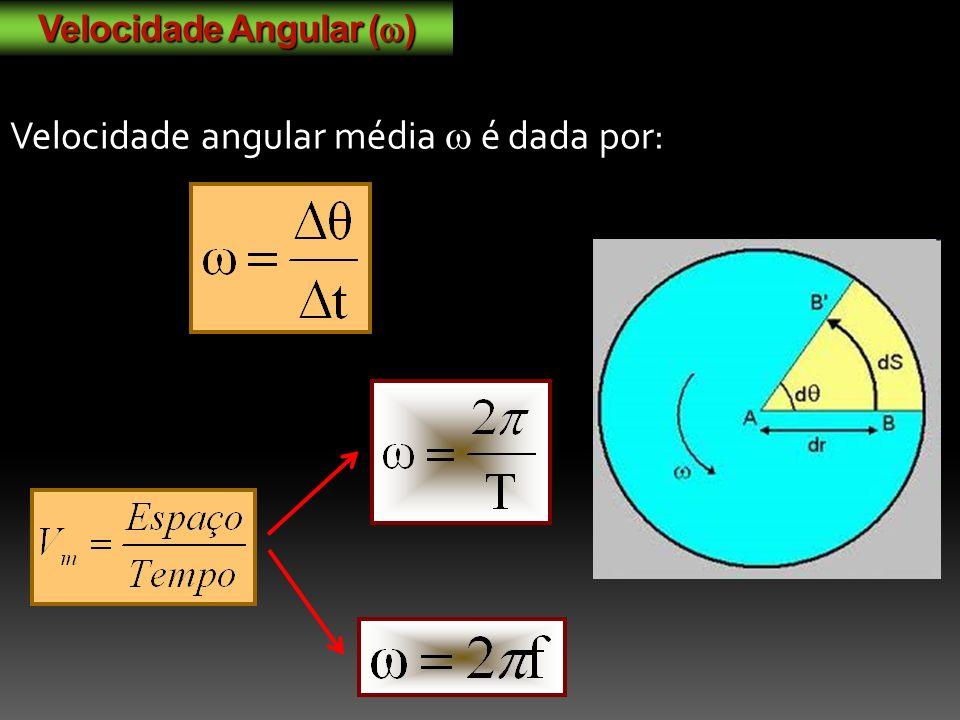 Velocidade Angular ( ) Velocidade angular média é dada por: