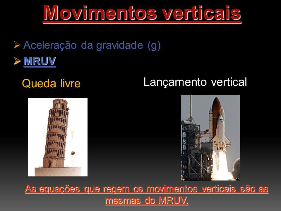 Movimentos verticais Aceleração da gravidade (g) MRUV As equações que regem os movimentos verticais são as mesmas do MRUV.