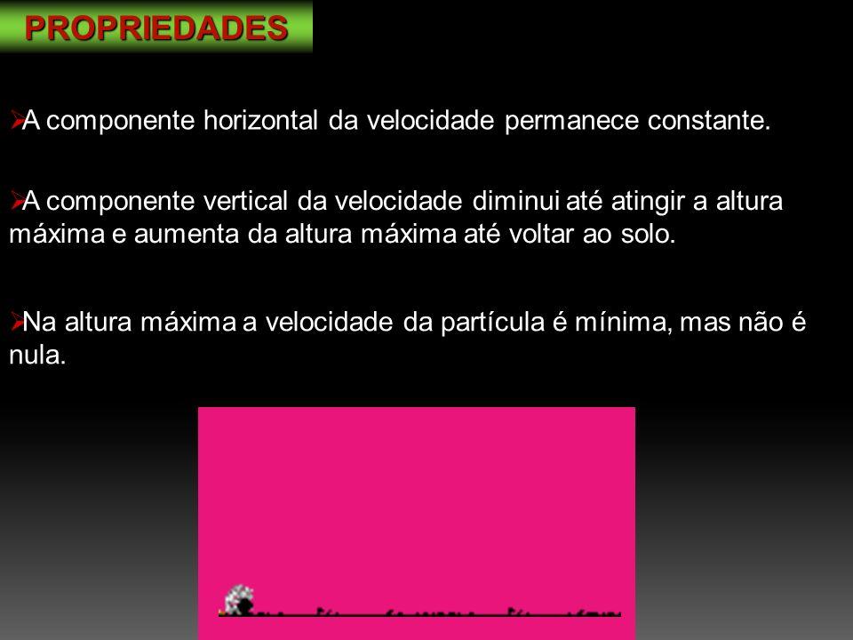 PROPRIEDADES A componente horizontal da velocidade permanece constante.