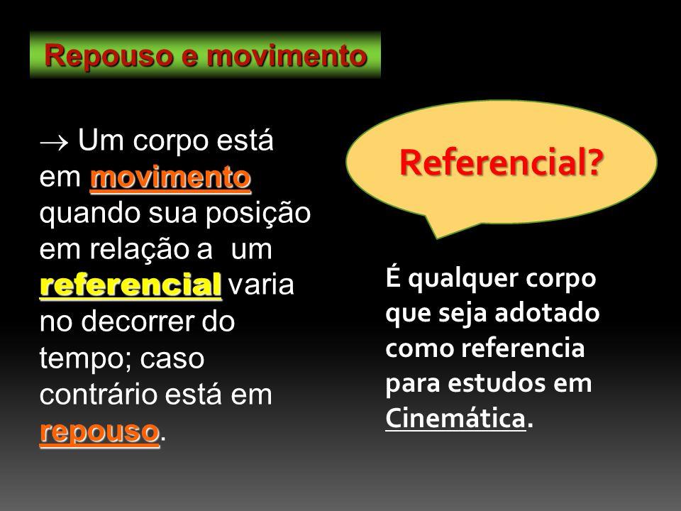 Repouso e movimento movimento referencial repouso Um corpo está em movimento quando sua posição em relação a um referencial varia no decorrer do tempo; caso contrário está em repouso.