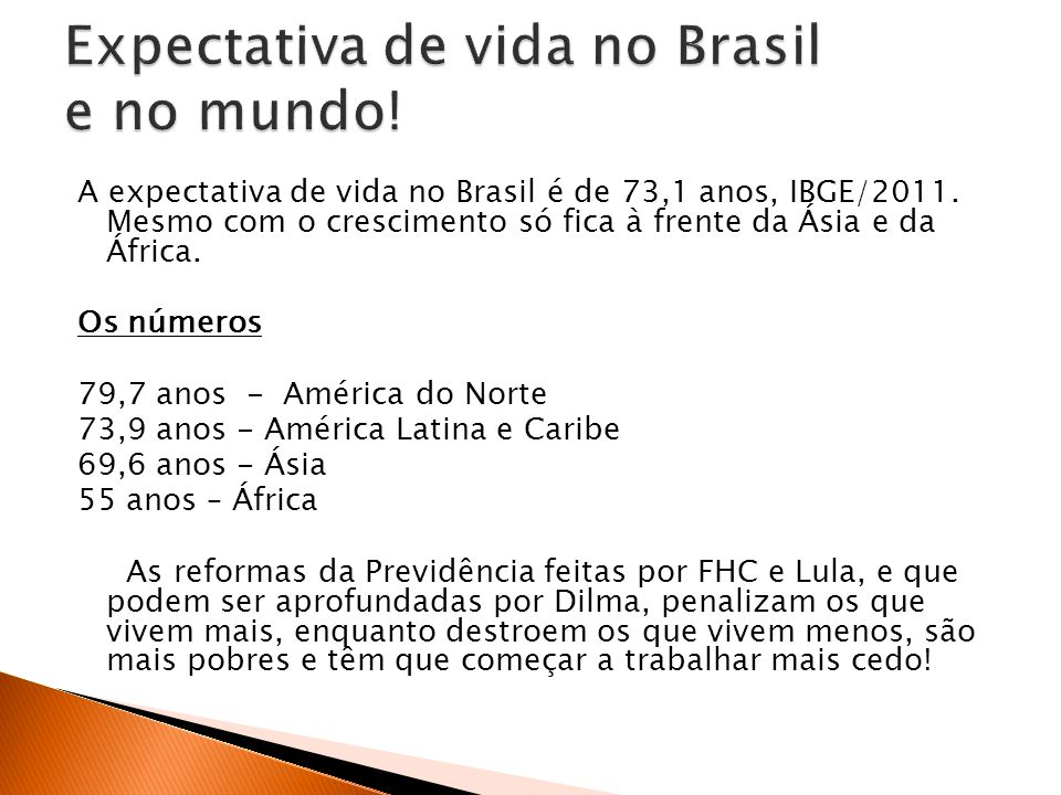 A expectativa de vida no Brasil é de 73,1 anos, IBGE/2011.