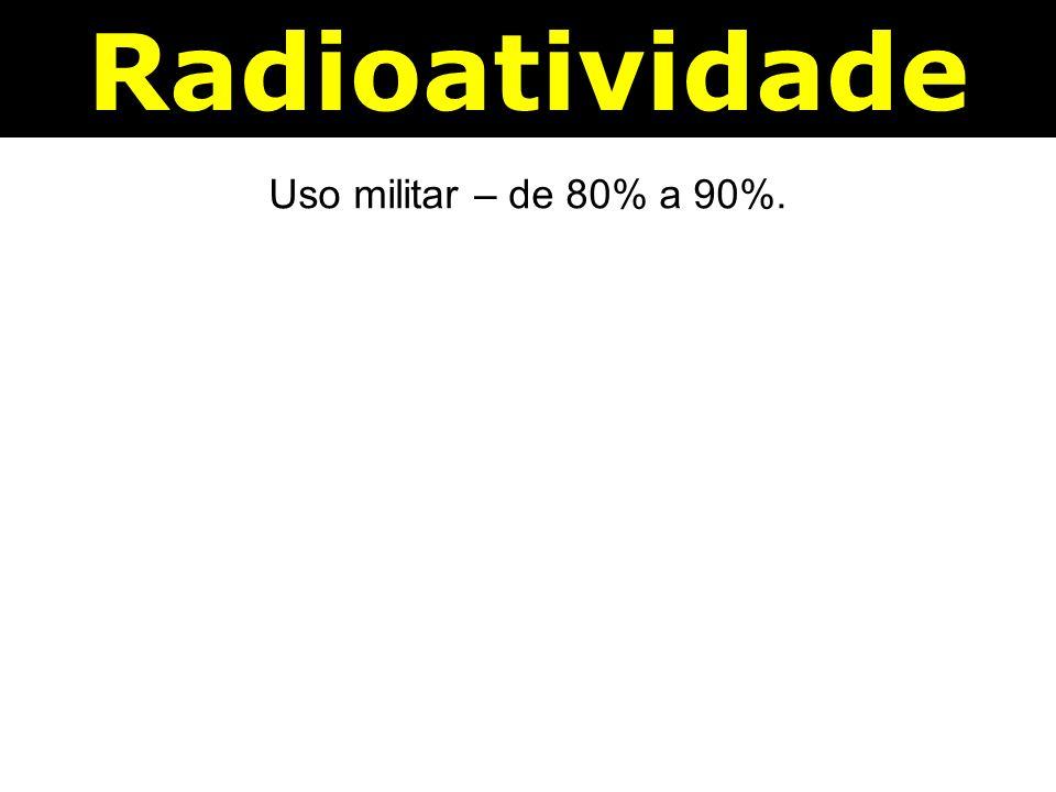 Radioatividade Uso militar – de 80% a 90%.