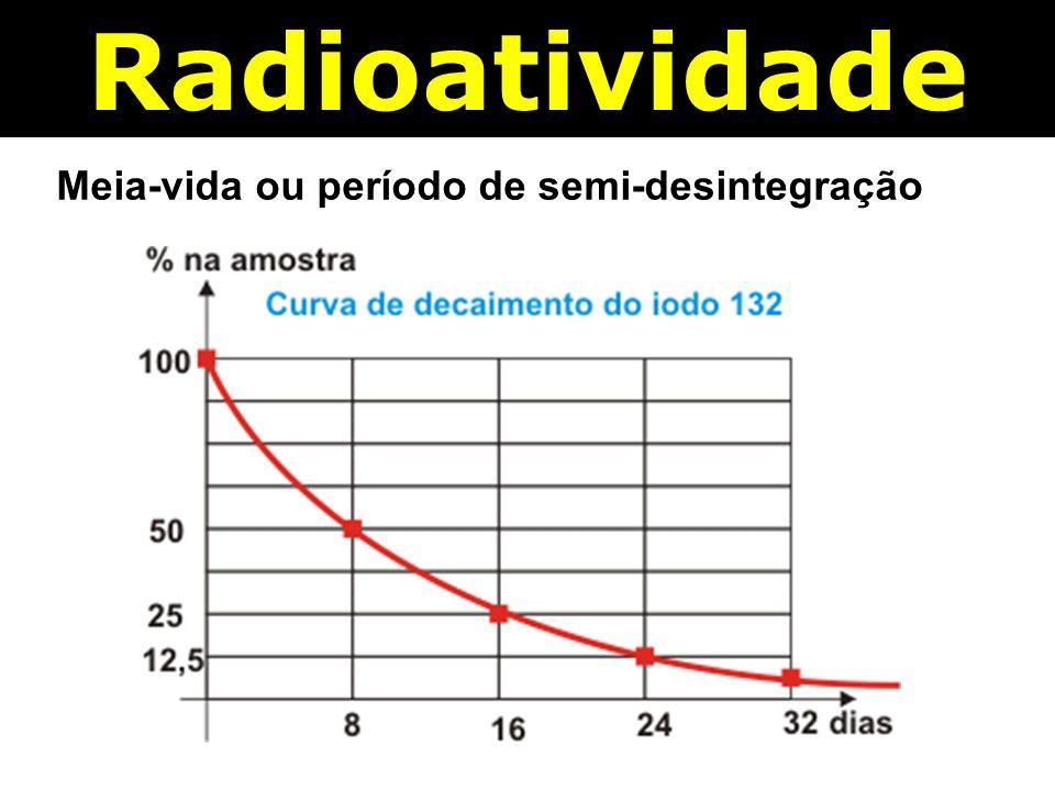 Radioatividade Meia-vida ou período de semi-desintegração