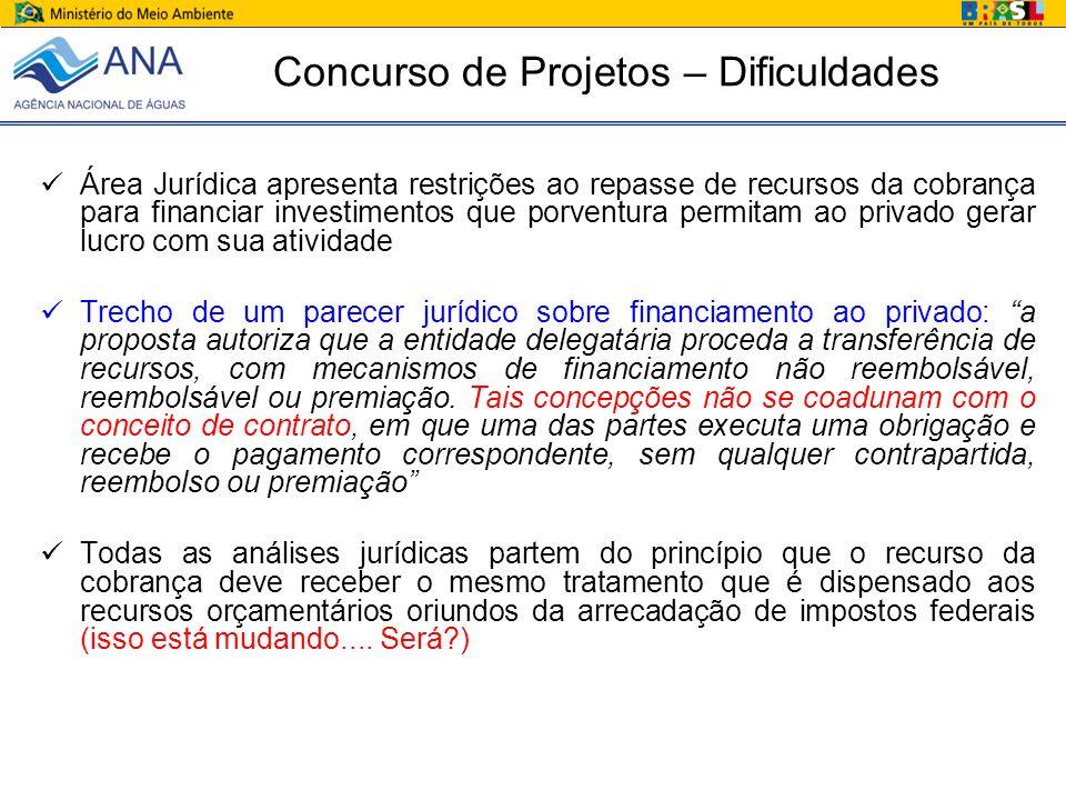 Concurso de Projetos – Dificuldades Área Jurídica apresenta restrições ao repasse de recursos da cobrança para financiar investimentos que porventura