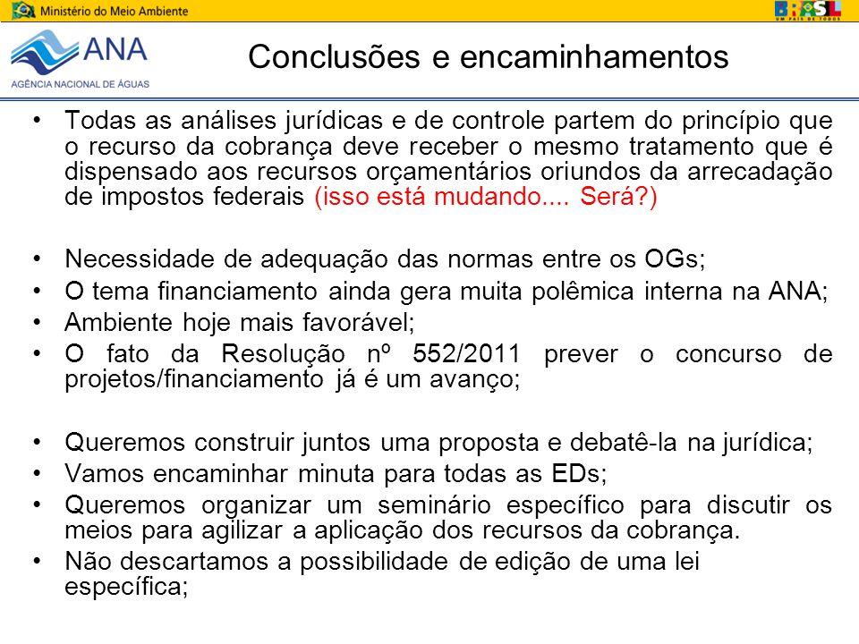 Conclusões e encaminhamentos Todas as análises jurídicas e de controle partem do princípio que o recurso da cobrança deve receber o mesmo tratamento q