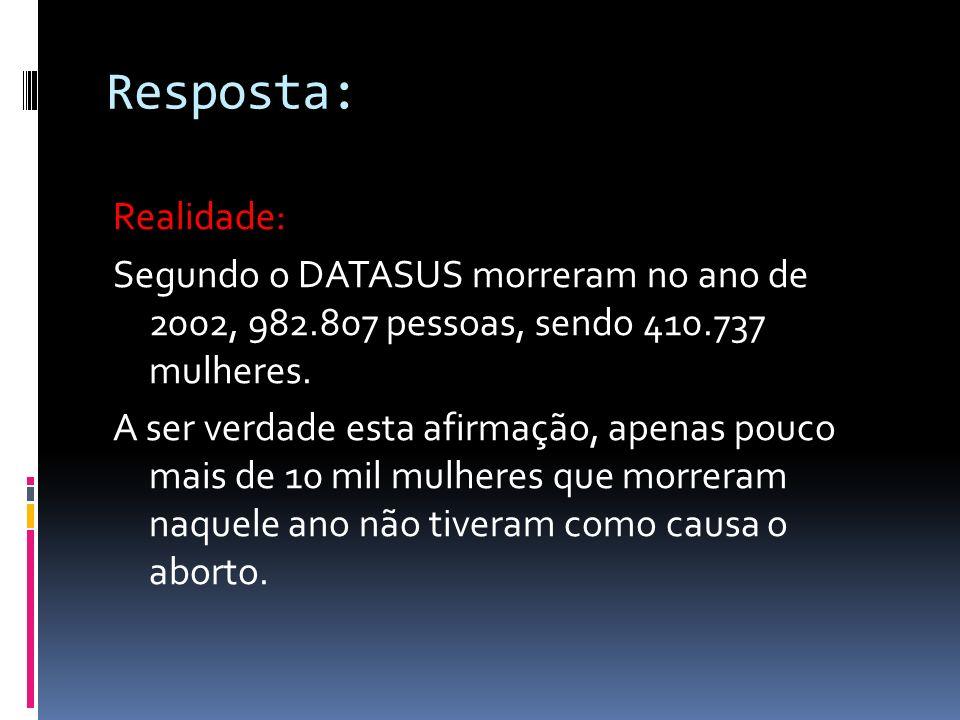 Dizem: No Brasil morrem por ano 400 mil mulheres vitimadas pelo aborto.