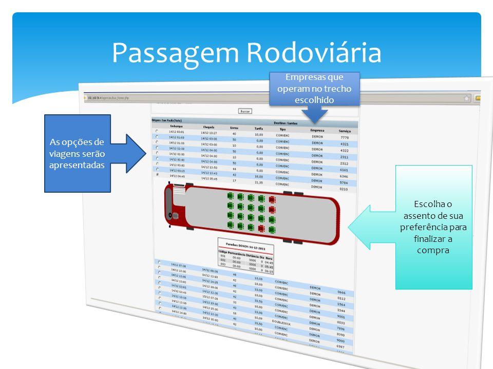Passagem Rodoviária As opções de viagens serão apresentadas Empresas que operam no trecho escolhido Escolha o assento de sua preferência para finaliza