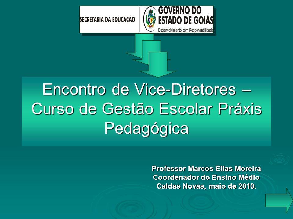 Encontro de Vice-Diretores – Curso de Gestão Escolar Práxis Pedagógica Professor Marcos Elias Moreira Coordenador do Ensino Médio Caldas Novas, maio d