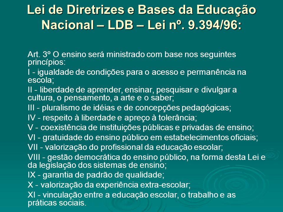 Lei de Diretrizes e Bases da Educação Nacional – LDB – Lei nº. 9.394/96: Art. 3º O ensino será ministrado com base nos seguintes princípios: I - igual