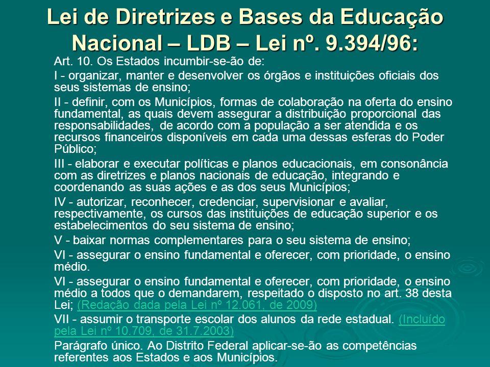 Lei de Diretrizes e Bases da Educação Nacional – LDB – Lei nº. 9.394/96: Art. 10. Os Estados incumbir-se-ão de: I - organizar, manter e desenvolver os