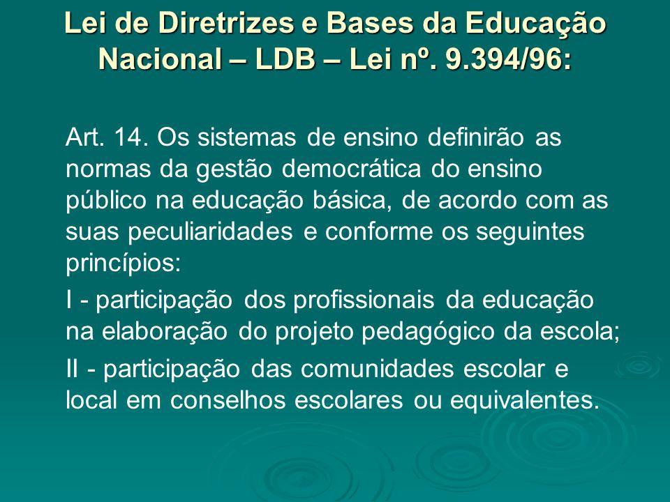 Lei de Diretrizes e Bases da Educação Nacional – LDB – Lei nº. 9.394/96: Art. 14. Os sistemas de ensino definirão as normas da gestão democrática do e