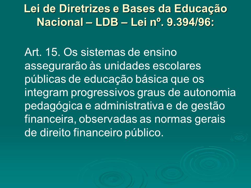 Lei de Diretrizes e Bases da Educação Nacional – LDB – Lei nº. 9.394/96: Art. 15. Os sistemas de ensino assegurarão às unidades escolares públicas de