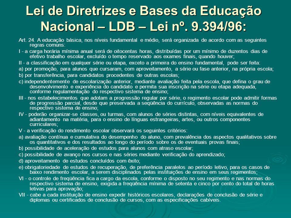 Lei de Diretrizes e Bases da Educação Nacional – LDB – Lei nº. 9.394/96: Art. 24. A educação básica, nos níveis fundamental e médio, será organizada d