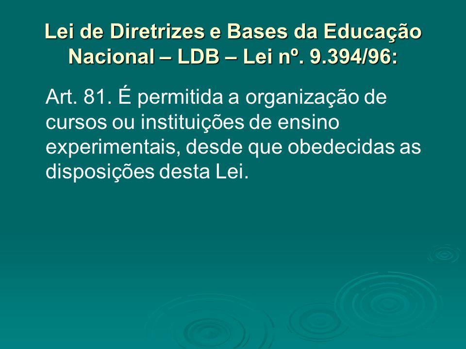 Lei de Diretrizes e Bases da Educação Nacional – LDB – Lei nº. 9.394/96: Art. 81. É permitida a organização de cursos ou instituições de ensino experi