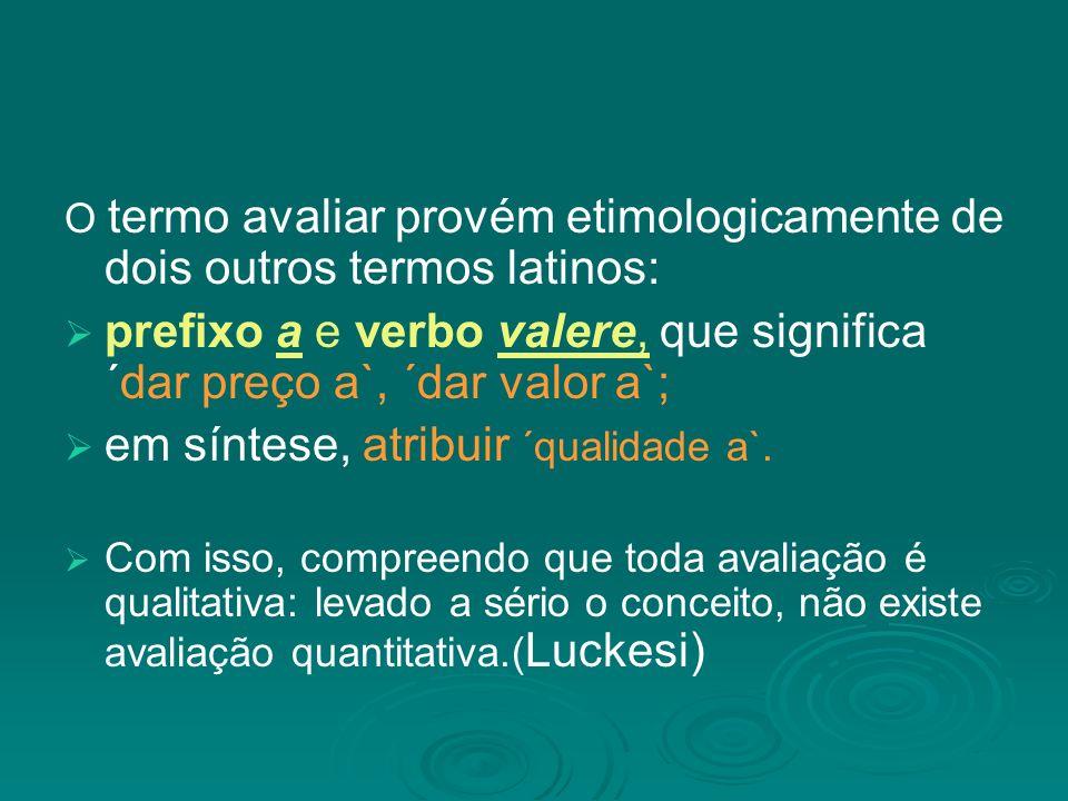 O termo avaliar provém etimologicamente de dois outros termos latinos: prefixo a e verbo valere, que significa ´dar preço a`, ´dar valor a`; em síntese, atribuir ´qualidade a`.