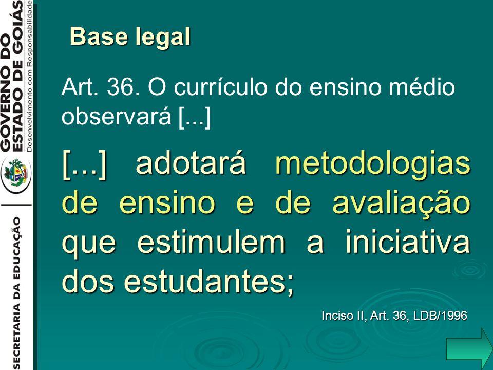 [...] adotará metodologias de ensino e de avaliação que estimulem a iniciativa dos estudantes; Inciso II, Art. 36, LDB/1996 Base legal Art. 36. O curr