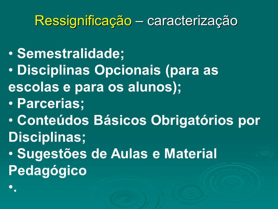 Semestralidade; Disciplinas Opcionais (para as escolas e para os alunos); Parcerias; Conteúdos Básicos Obrigatórios por Disciplinas; Sugestões de Aulas e Material Pedagógico.