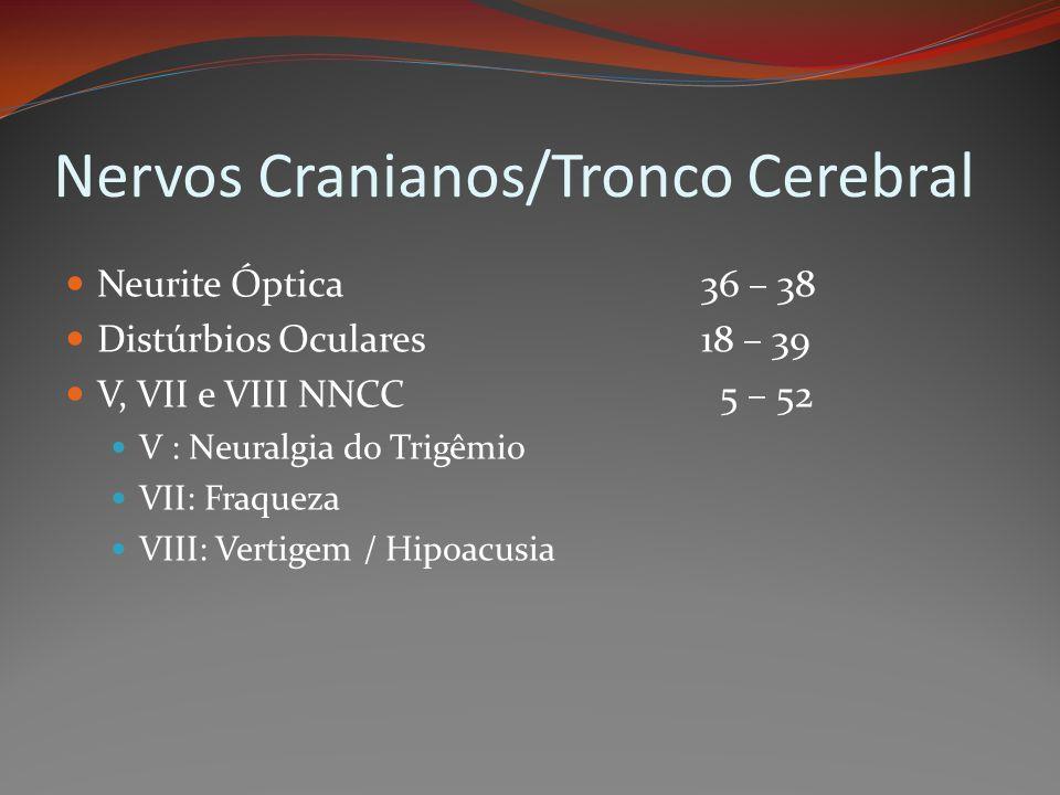 Nervos Cranianos/Tronco Cerebral Neurite Óptica36 – 38 Distúrbios Oculares18 – 39 V, VII e VIII NNCC 5 – 52 V : Neuralgia do Trigêmio VII: Fraqueza VI