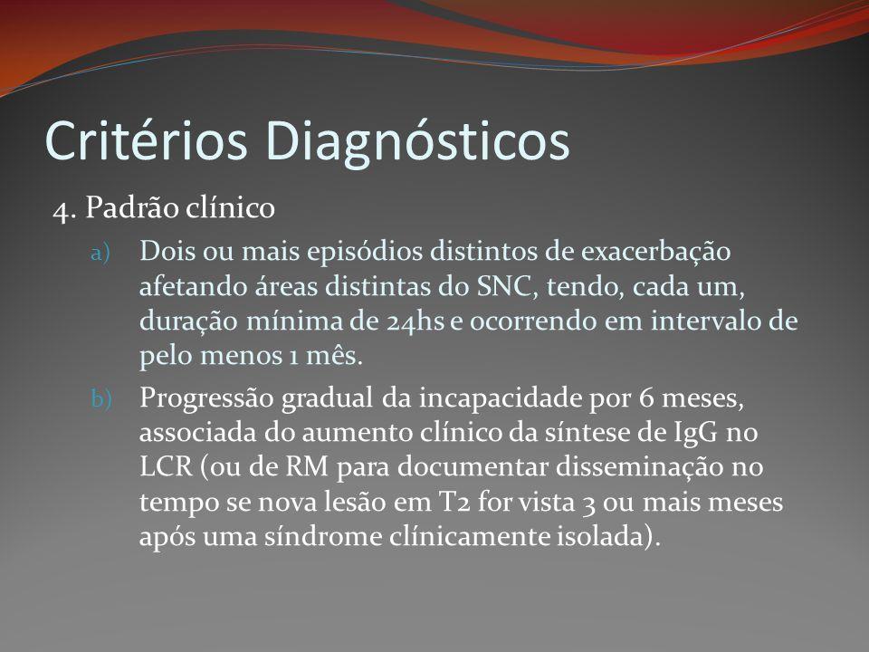 Critérios Diagnósticos 4. Padrão clínico a) Dois ou mais episódios distintos de exacerbação afetando áreas distintas do SNC, tendo, cada um, duração m