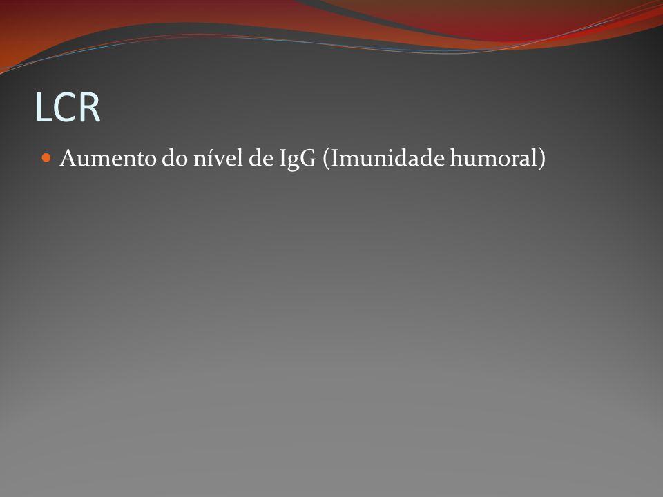 LCR Aumento do nível de IgG (Imunidade humoral)