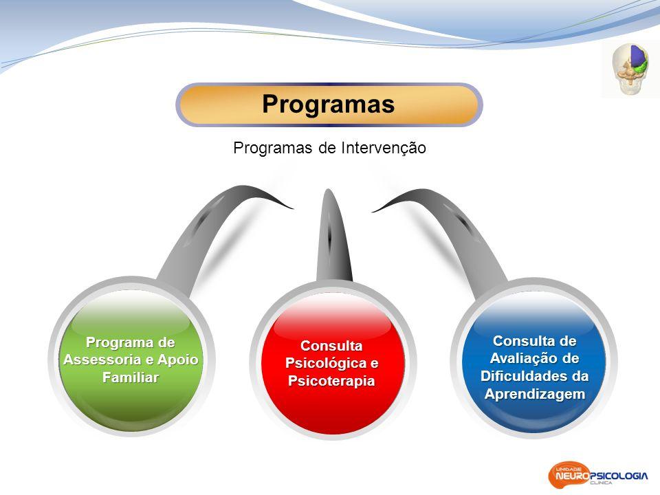 Consulta Psicológica e Psicoterapia Consulta de Avaliação de Dificuldades da Aprendizagem Programas de Intervenção Programas Programa de Assessoria e