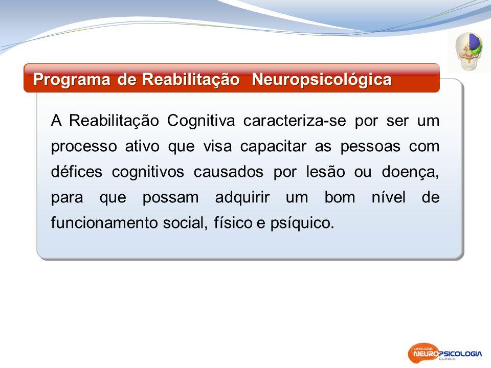 A Reabilitação Cognitiva caracteriza-se por ser um processo ativo que visa capacitar as pessoas com défices cognitivos causados por lesão ou doença, p