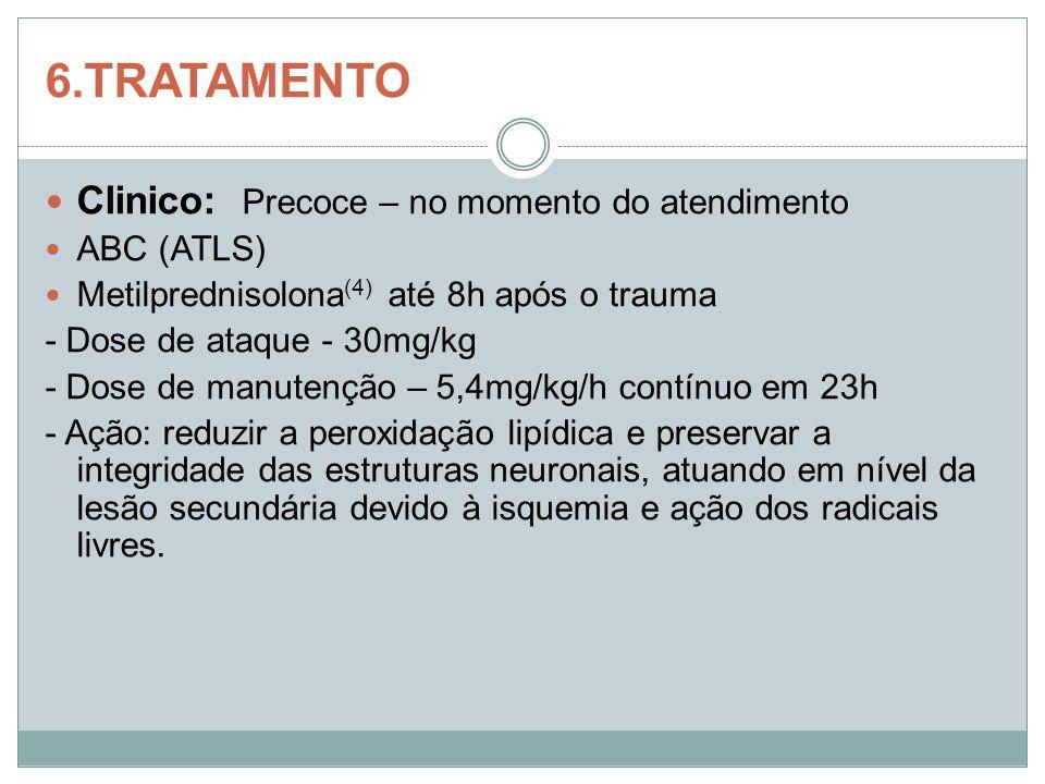 6.TRATAMENTO Clinico: Precoce – no momento do atendimento ABC (ATLS) Metilprednisolona (4) até 8h após o trauma - Dose de ataque - 30mg/kg - Dose de m