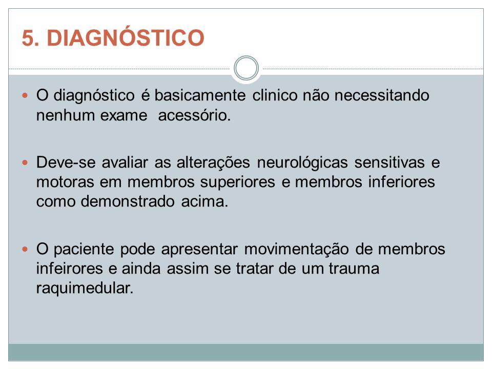 5. DIAGNÓSTICO O diagnóstico é basicamente clinico não necessitando nenhum exame acessório. Deve-se avaliar as alterações neurológicas sensitivas e mo