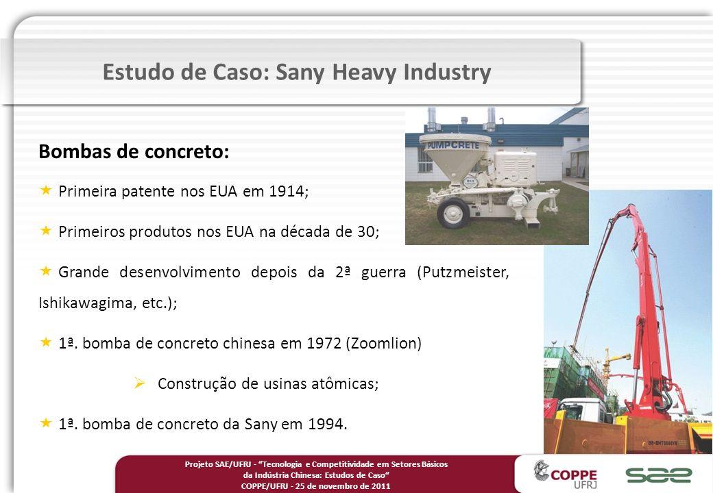 Bombas de concreto: Primeira patente nos EUA em 1914; Primeiros produtos nos EUA na década de 30; Grande desenvolvimento depois da 2ª guerra (Putzmeister, Ishikawagima, etc.); 1ª.