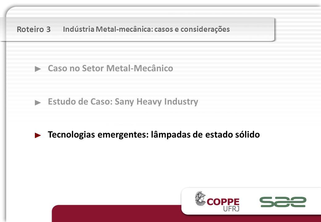 Caso no Setor Metal-Mecânico Estudo de Caso: Sany Heavy Industry Tecnologias emergentes: lâmpadas de estado sólido Roteiro 3 Indústria Metal-mecânica: casos e considerações