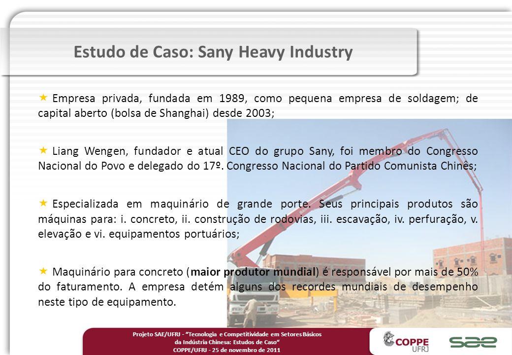 Empresa privada, fundada em 1989, como pequena empresa de soldagem; de capital aberto (bolsa de Shanghai) desde 2003; Liang Wengen, fundador e atual CEO do grupo Sany, foi membro do Congresso Nacional do Povo e delegado do 17º.