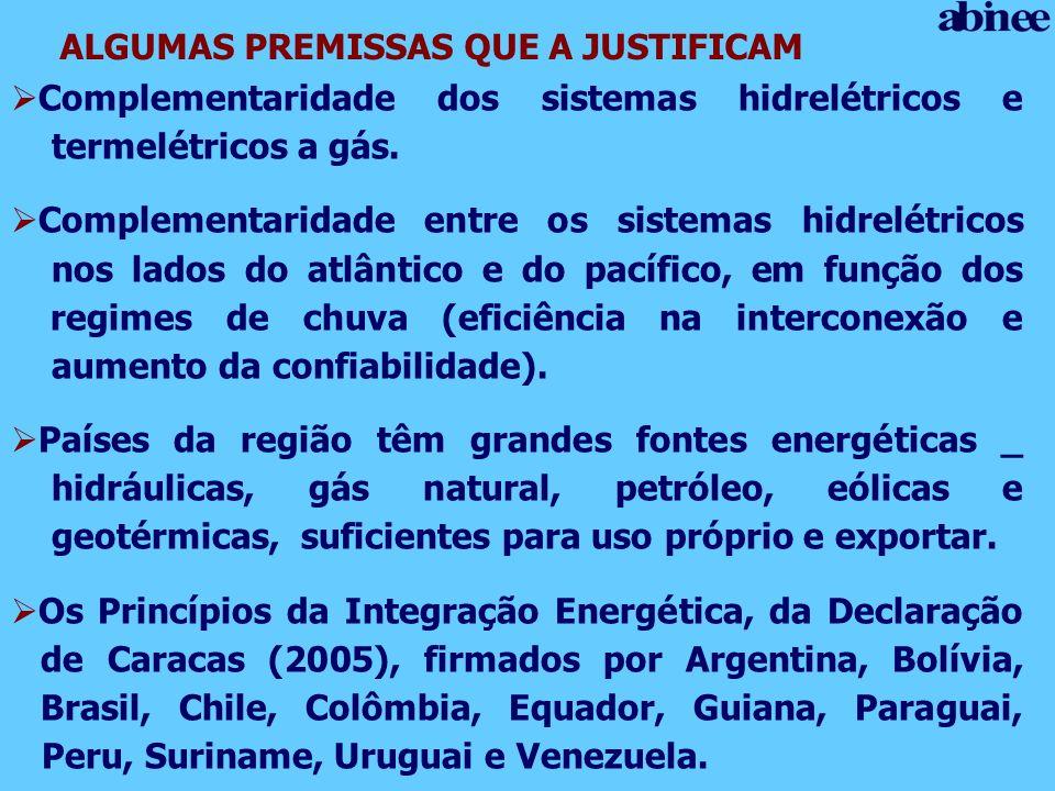 ALGUMAS PREMISSAS QUE A JUSTIFICAM Complementaridade dos sistemas hidrelétricos e termelétricos a gás. Complementaridade entre os sistemas hidrelétric