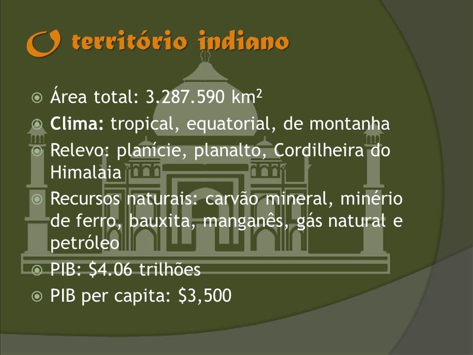 O território indiano Área total: 3.287.590 km 2 Clima: tropical, equatorial, de montanha Relevo: planície, planalto, Cordilheira do Himalaia Recursos