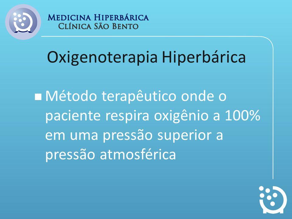 Oxigenoterapia Hiperbárica Método terapêutico onde o paciente respira oxigênio a 100% em uma pressão superior a pressão atmosférica