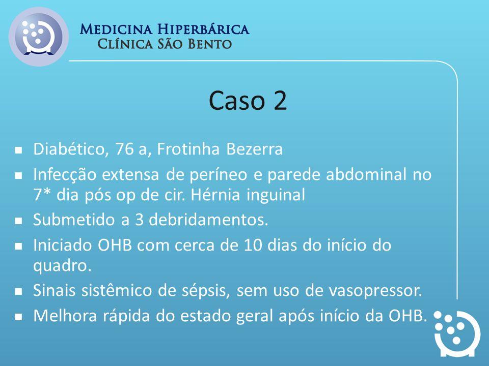 Caso 2 Diabético, 76 a, Frotinha Bezerra Infecção extensa de períneo e parede abdominal no 7* dia pós op de cir. Hérnia inguinal Submetido a 3 debrida