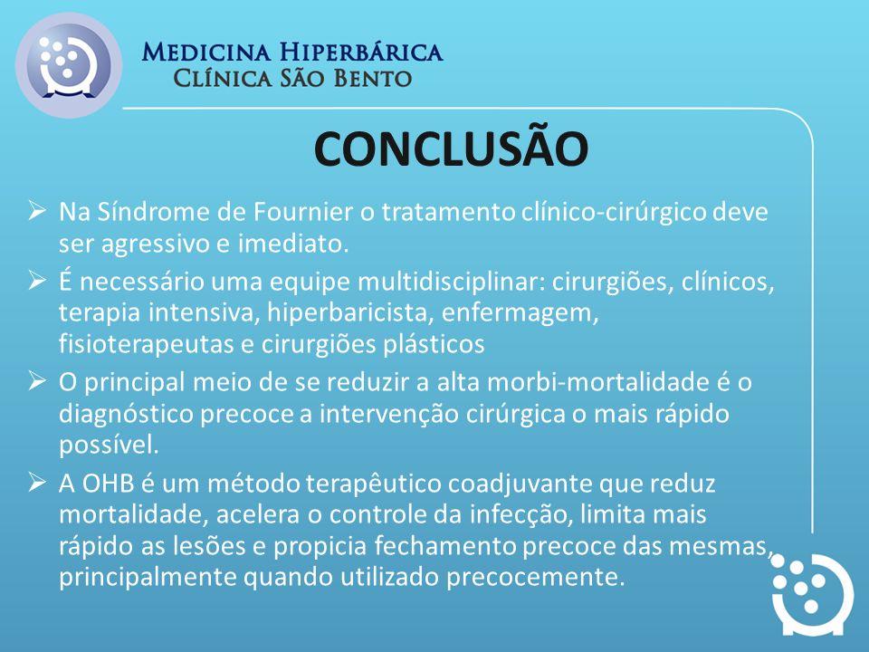 CONCLUSÃO Na Síndrome de Fournier o tratamento clínico-cirúrgico deve ser agressivo e imediato. É necessário uma equipe multidisciplinar: cirurgiões,