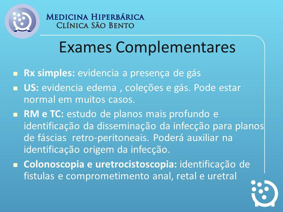 Exames Complementares Rx simples: evidencia a presença de gás US: evidencia edema, coleções e gás. Pode estar normal em muitos casos. RM e TC: estudo