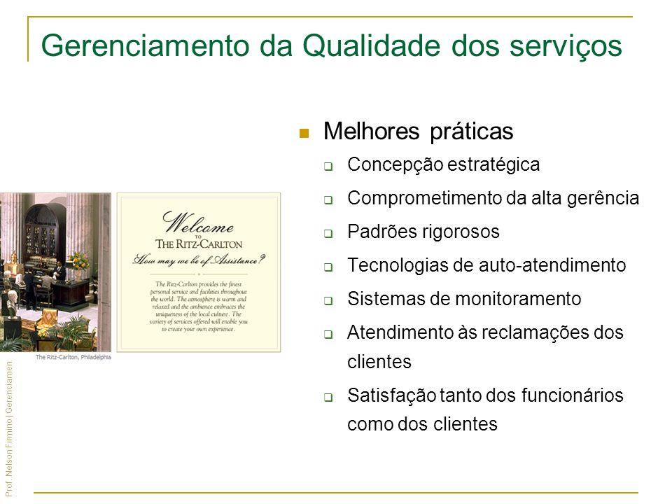Prof. Nelson Firmino | Gerenciamento de Produtos, Serviços e Marcas Gerenciamento da Qualidade dos serviços Melhores práticas Concepção estratégica Co