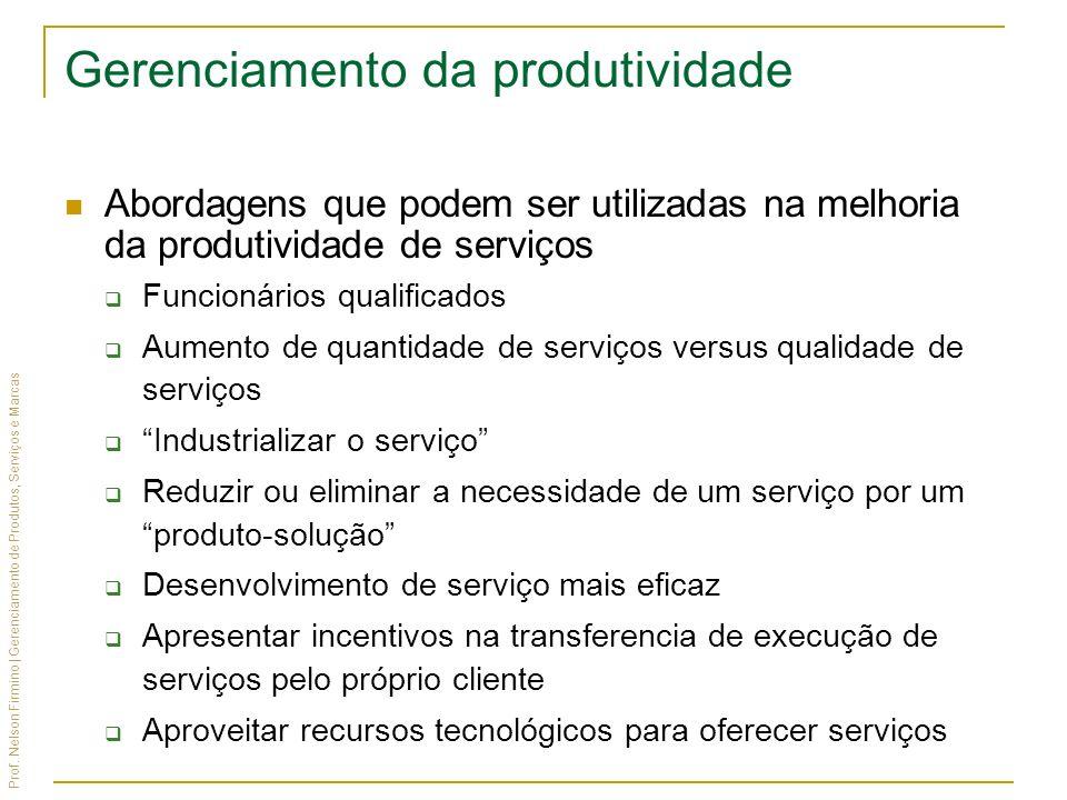 Prof. Nelson Firmino | Gerenciamento de Produtos, Serviços e Marcas Gerenciamento da produtividade Abordagens que podem ser utilizadas na melhoria da