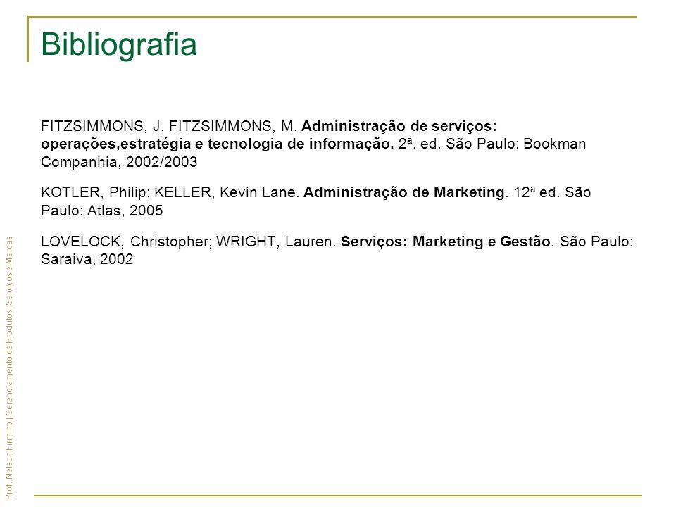 Prof. Nelson Firmino | Gerenciamento de Produtos, Serviços e Marcas Bibliografia FITZSIMMONS, J. FITZSIMMONS, M. Administração de serviços: operações,