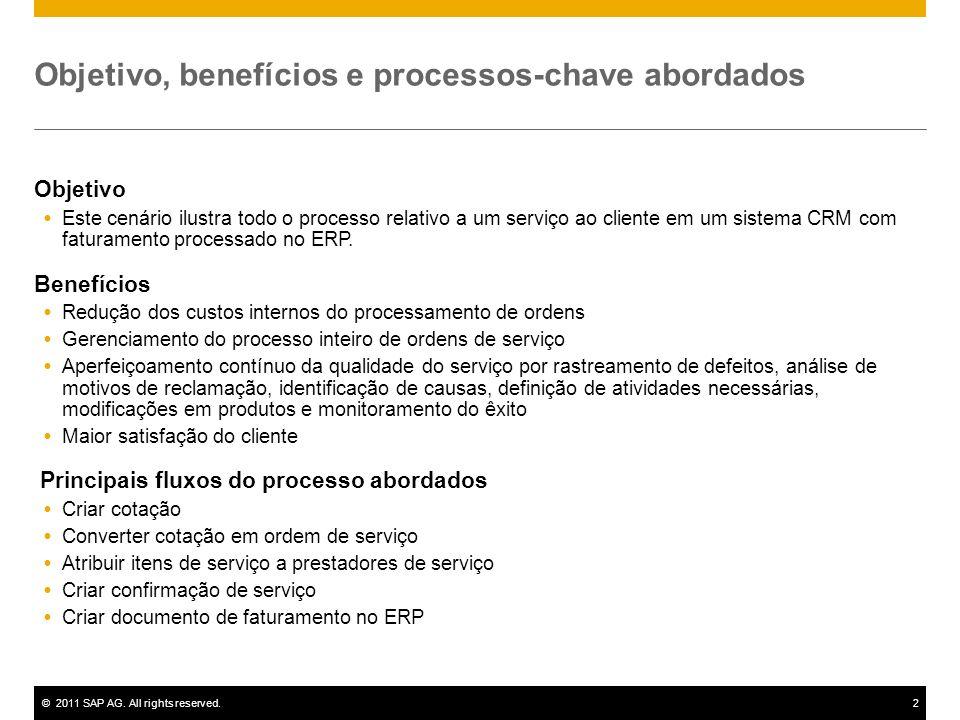 ©2011 SAP AG. All rights reserved.2 Objetivo, benefícios e processos-chave abordados Objetivo Este cenário ilustra todo o processo relativo a um servi