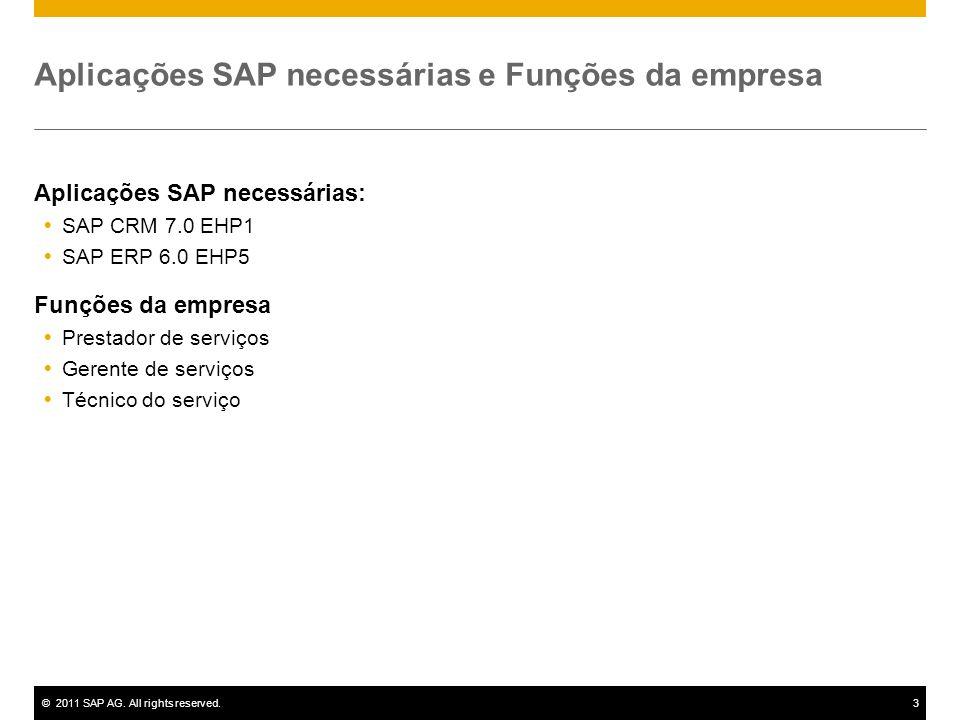 ©2011 SAP AG. All rights reserved.3 Aplicações SAP necessárias e Funções da empresa Aplicações SAP necessárias: SAP CRM 7.0 EHP1 SAP ERP 6.0 EHP5 Funç